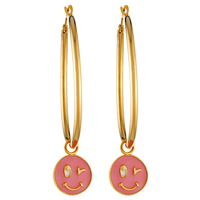 Pink-wink-face-earrings